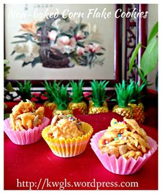 No Bake Peanut Butter Cornflake Cookies (免烤酥脆玉米片曲奇) Recipe Using Honey, Chinese New Year Cookies, Baked Corn, Recipe Cover, Easy Chinese Recipes, Steamed Cake, Asian Desserts, Chinese Desserts, Golden Syrup