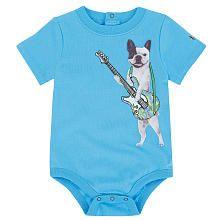 """ Reggie "" - Truly Scrumptious Boys' Short Sleeve 'Guitar & Dog' Bodysuit"