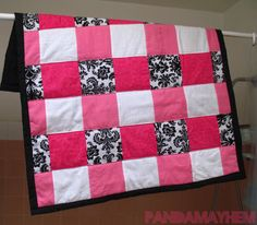 First pink quilt~ I would do in black and white with brocade.