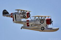 """A J2F """"Duck""""and F3F in close formation at the Chino """"Planes of Fame """" Air Show. The F3F was the last biplane delivered to the US Navy: it served from 1936-41, retiring before the US entry to WWII. - by mvonraesfeld, via Flickr."""