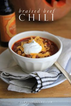 Braised Beef Chili - So easy, with great texture from the slow simmered beef.  Crockpot would be great for this!