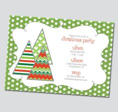 thinkrsvp printable party pieces presents this diy holiday party invitation our funky christmas trees holiday party invitation printable for your next
