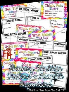 Promote visible thinking in your classroom with this Thinking Routines pack. There are 12 routines covered.  Each routine contains a poster and a graphic organiser (with the exception of Think, Pair, Share).  Routines; 1) See, Think, Wonder 2) I used to think... 3) Think, Puzzle, Explore 4) What makes you say that? 5) 3-2-1 Bridge 6) Headlines 7) Claim, Support, Question 8) Connect, Extend, Challenge 9) 10 x 2 10) Circle of Viewpoints 11) Compass Points 12) Think, Pair, Share