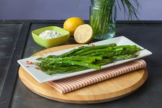 Roasted Balsamic Asparagus with Chive Aioli – In less than 10 minutes, roast asparagus in your oven for a healthy alternative to fries.