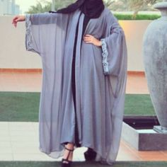 Unique and different is the next generation of beautiful. Fashionable Saudi Abayas based in KWT Hijab Fashion 2016, Modest Fashion Hijab, Abaya Fashion, Muslim Fashion, Islamic Fashion, Fashion Outfits, Batik Dress, Caftan Dress, Hijab Dress