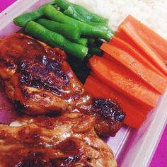 Healthy Food Grilled chicken barbeque with carrot and bean.