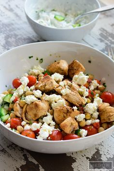 lemon chicken saute with chickpea salad and tzatziki sauce