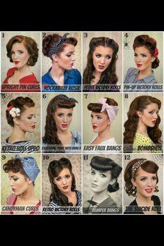 Vintage hair, victory rolls