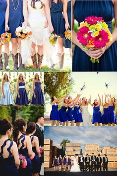 Blue and White Wedding Ideas - 2014 dark bule bridesmaid dresses trend