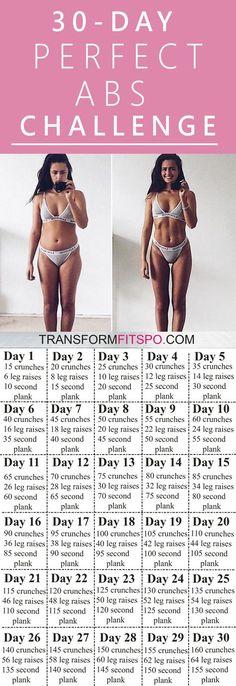 Rutina de 30 días para abdominales que puedes hacer en casa.