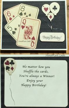 birthday cards with vintage playing cards, horsemark cards, birthday cards for poker players