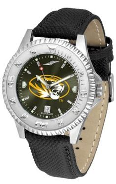Missouri Tigers Competitor AnoChrome Men's Watch with Nylon/Leather Band by SunTime. $85.45. Showcase the hottest design in watches today! A functional rotating bezel is color-coordinated to compliment the NCAA Missouri Tigers logo. A durable, long-lasting combination nylon/leather strap, together with a date calendar, round out this best-selling timepiece.The AnoChrome dial option increases the visual impact of any watch with a stunning radial reflection similar to that of t...