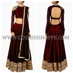BUY THIS BEAUTIFUL MAROON EMBROIDERED LEHENGA WITH MATCHING DUPATTA @ WWW.COSMOSSHOPPE.COM
