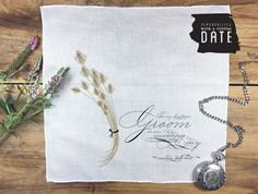 Groom cotton pocket square wedding gift  hand by PrintmadeStudio