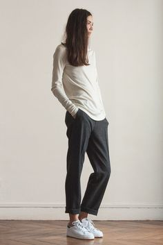 Basic slacks grey by Lookast With White sneakers