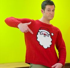 The ideal Christmas gift? Matt Baker all wrapped up in this Father Christmas jumper! The former Blue Peter presenter and co-host of Countryfile and The One Show grew up on a sheep farm on the Dales, making him a natural Jumper Knitting Pattern, Intarsia Knitting, Jumper Patterns, Knitting Patterns Free, Free Knitting, Baby Knitting, Crochet Patterns, Crochet Blogs, Knitting Ideas