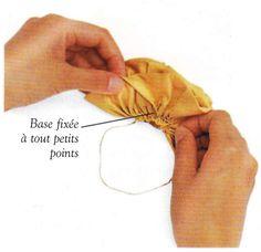 Continuez à enrouler la bande et à coudre à la base.  Au fur et à mesure, resserrez les fronces. Quand la bande est complètement enroulée, fixez-en le bord extérieur par quelques points supplémentaires. Arretez les fils de fronces et coupez-les - Bobine de Fil