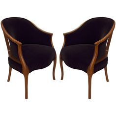Pair of Exquisite Deco Bergeres With Mohair