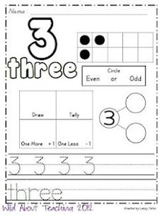 free math sheets for each number to - great for pre K Kindergarten Classroom, Teaching Math, Teaching Numbers, Teaching Ideas, Fun Math, Math Activities, Educational Activities, Learning Resources, Khadra