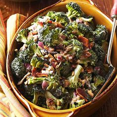 Sunny Broccoli Salad  1 cup mayonnaise or reduced-fat mayonnaise dressing or salad dressing 1/4 cup finely chopped red onion 1/2 cup raisins 3 -5 tablespoons sugar 2 tablespoons vinegar 7 cups chopped fresh broccoli florets 1/2 cup sunflower seeds 8 slices bacon, crisp-cooked, drained and crumbled