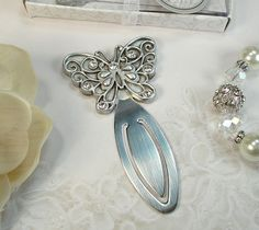 24 Antique Silver Butterfly bookmark Wedding Bridal Shower Christening Favor #DD