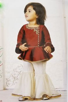 Maroon Palazzo/lehenga Designer Suit For Girls From Palkhi Fashion Stylish Dresses For Girls, Gowns For Girls, Frocks For Girls, Dresses Kids Girl, Kids Party Wear Dresses, Kids Dress Wear, Kids Gown, Kids Wear, Fancy Dress