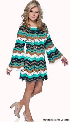 Cute and Stylish Free Crochet Dresses Pattern Design Ideas Part crochet dress; Zig Zag Crochet, Moda Crochet, Gilet Crochet, Crochet Tunic, Free Crochet, Knit Crochet, Crochet Skirts, Crochet Clothes, Vestido Zig Zag