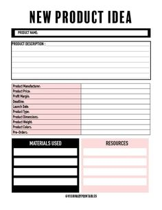 Have a new product idea that you want to map out? This New Product Idea worksheet is perfect for that. In one place, you'll be able to see the dimensions, the name, the manufacturer and all of the aspects that entail creating a new product. Business Planner, Business Goals, Business Management, Business Tips, Business Products, Small Business Plan, Small Business Marketing, Marketing Plan, Media Marketing