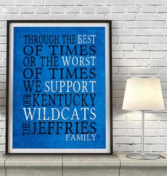 "Kentucky Wildcats Personalized Customized Art Print- ""Best of Times"" Parody- Charles Dickens-  Unframed Print"