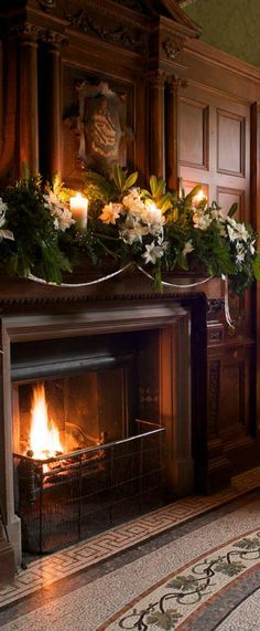 """Christmas decor for the banister at church! --""""Even the library shines with Christmas cheer and a fire so cosy."""" Sarah in the library at Highbridge. by Linda J Pifer Christmas Fireplace, Christmas Mantels, Fireplace Mantels, Christmas Home, Christmas Decorations, Holiday Decor, Fireplaces, Christmas Carol, Xmas"""