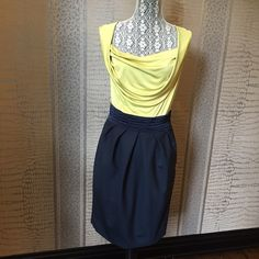 """LUXE RACHEL ROY SIGNATURE DRESS Absolutely beautiful chartreuse yellow and navy dress by Rachel Roy Signature Collection. The contrasting colors and fabrics are great together. Very flattering contoured  design. Measures 30"""" bust, 29"""" waist, 34"""" hips approx. Rachel Roy Signature Dresses Midi"""