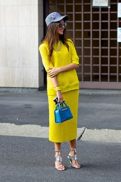 full length on that tres cool yellow number. Milan.