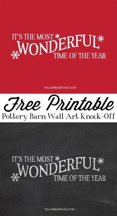Christmas Printable - Pottery Barn Inspired Chalkboard and color print
