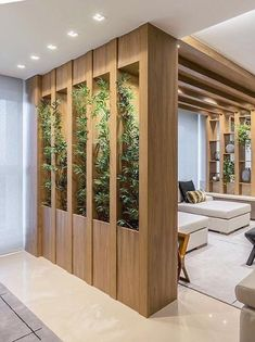 Stylish room division: real wood stud wall with integrated lighting for a - AmigurumiHouse Living Room Partition Design, Living Room Divider, Room Partition Designs, Home Room Design, Home Interior Design, Living Room Designs, House Design, Door Design, Wall Design