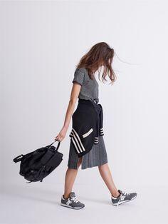 581e3188e11 madewell whisper cotton crewneck tee and striped side-slit midi skirt