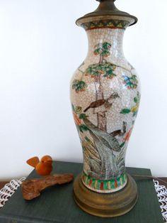 Vintage Asian Porcelain Lamp  1940's Vase Lamp by My3LuvBugsVintage $155 #Etsy #Vintage #Desk Lamp # Accent Light #Birds
