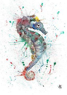 """Sea"" Seahorse print silk finish, canvas or Giclee | Jamie Taylor Art"