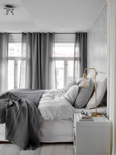 Scandinavian bedroom in a grey palette with soft textiles and golden d. Scandinavian bedroom in a grey palette with soft textiles and golden d. Gray Bedroom, Bedroom Inspo, Home Bedroom, Modern Bedroom, Bedroom Ideas, Design Bedroom, Beautiful Bedrooms For Couples, Minimalist Bedroom, Dream Rooms