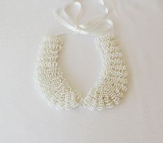 Pearl Collar, Ivory Pearl,  embroidery , Peter Pan Collar, Statement  Necklace, Bip Jewelry, Col Claudine