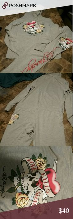 Ed Hardy hoodie & pants Ed Hardy hoodie & pants both XL Other
