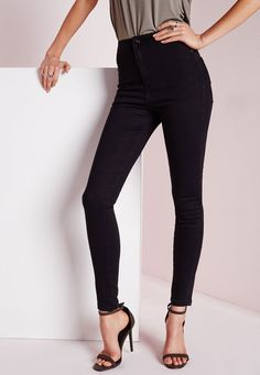 Vice High Waisted Skinny Jeans Black - Missguided