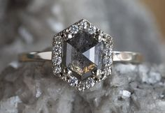Natural Rose Cut Black Hexagon Diamond Ring with Pavé Halo – Alexis Russell