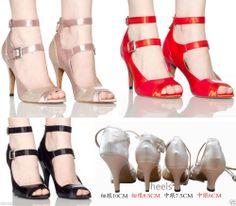 New Women's Satin Prom Tango Ballroom Latin Salsa Dance Heels Shoes come in 3 colors & 4 heel heights..