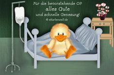 Postcard Art Kunstkarte kranke Eule im Bett Gute Besserung