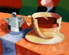 Mark Webster - Abstract Rough Futurism Coffee Cup Still Life Oil Painting, painting by artist Mark Adam Webster Coffee Art, Coffee Cups, Art Stand, Food Carving, Food Painting, Burger And Fries, Still Life Oil Painting, Selling On Pinterest, Still Life Art