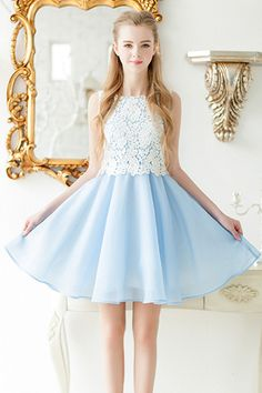 White Lace Embroidery Patchwork Sleeveless Flowing Blue Dress. Get thrilling discounts up to 80% Off at TBDress using Coupon and Promo Codes.