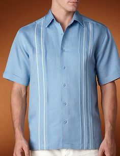 Elegant Guayabera Men′s Shirt for Summer picture from Guangzhou Boshi Apparel Co. view photo of Men′s Linen Cotton Shirt, Demure Men′s Dress Shirt, Guayabera Men′s Shirt. Casual Outfits, Men Casual, Casual Clothes, Camisa Vintage, Polo Design, Guayabera Shirt, Formal Shirts For Men, Bowling Shirts, Camisa Polo