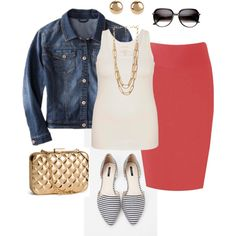 """""""Casual Skirt on a Budget- Plus Size Outfit"""" plus size denim jacket, tank top, pencil skirt, flats, and gold jewelry and accessories. all budget friendly"""