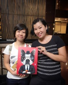 It's great meeting @lilita_yaya who commissioned me to paint her beloved Boogie.  Have a nice trip in Singapore!!  www.facebook.com/Slothstudio