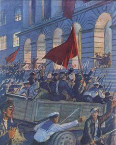 Smolny during the October Revolution. B. Kustodiev